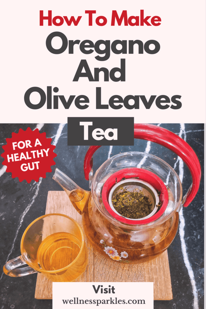 tea pot and mug with oregano and olive tree leaves tea for healthy gut